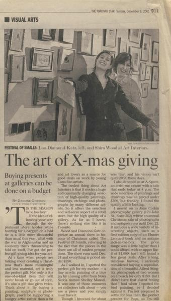 Toronto Star - The art of X-mas giving