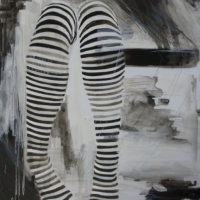 Agnieszka Foltyn - Black and White Stocking on Mylar