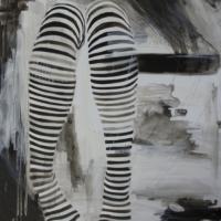 Agnieszka Foltyn - Black and White Stocking on Mylar