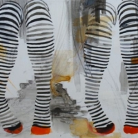 Agnieszka Foltyn - Double Stockings (Black, white and red)