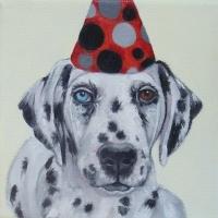 Jennifer Wigmore - Dalmation in Red Dot Hat