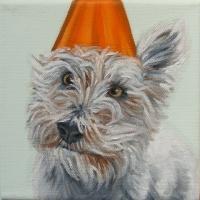 Jennifer Wigmore - Westie in a Orange Party Hat