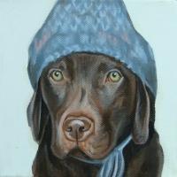 Jennifer Wigmore - Chocolate Lab in a Winter Hat