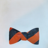 Erin Vincent - Orange Blue Striped Bow Tie