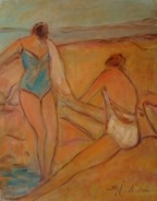 Susan McLean Woodburn - Two Bathers by Boat
