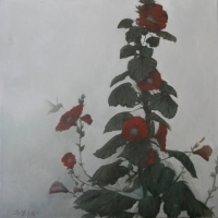 Greg Nordoff - Hollyhocks and Hummingbird 2