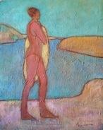 Susan McLean Woodburn - Bather Drying Off - Yellow Towel
