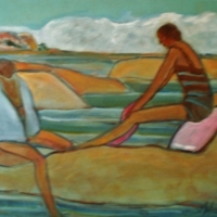 Susan McLean Woodburn - Two Bathers-The Open - Georgian Bay