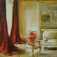 Hanna Ruminski - Interior with red curtains
