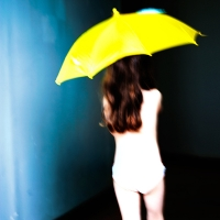 Virginia Macdonald - Yellow Umbrella, Back View (Dark)