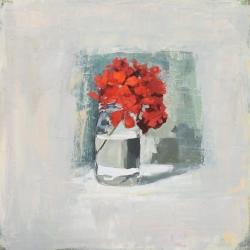 Hilda Oomen - Red Geranium, Glass Jar