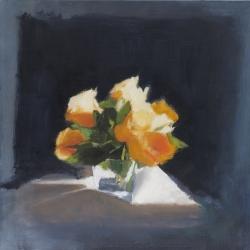 Hilda Oomen - Yellow Roses, Square Vase