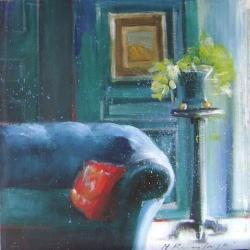 Hanna Ruminski - Interior with Sofa and Kilim Pillow