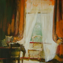 Hanna Ruminski - Room with Window and Velour Curtain