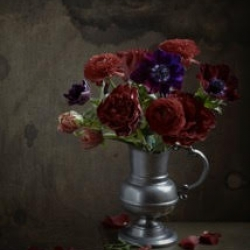 Kristin  Sjaarda -  Anenome, Ranunculus and Red Roses 1