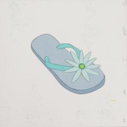 Christopher Hayes - Blue Floral Flip Flops