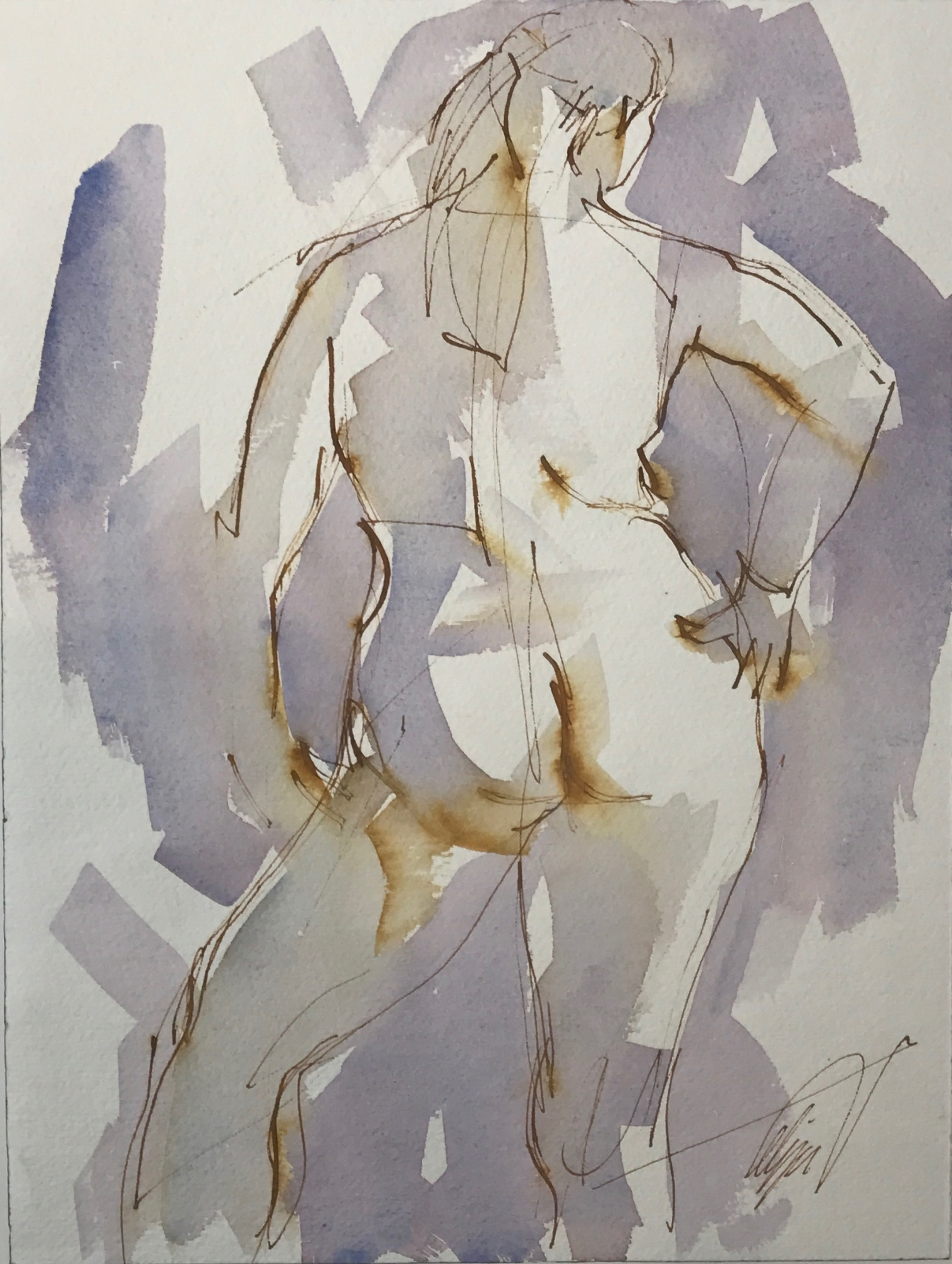 Nude with Hand on Hip by Mel Delija