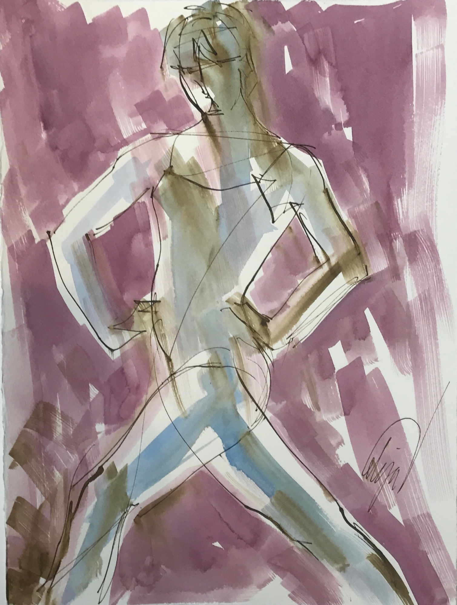 Nude with Arms on Hips  by Mel Delija