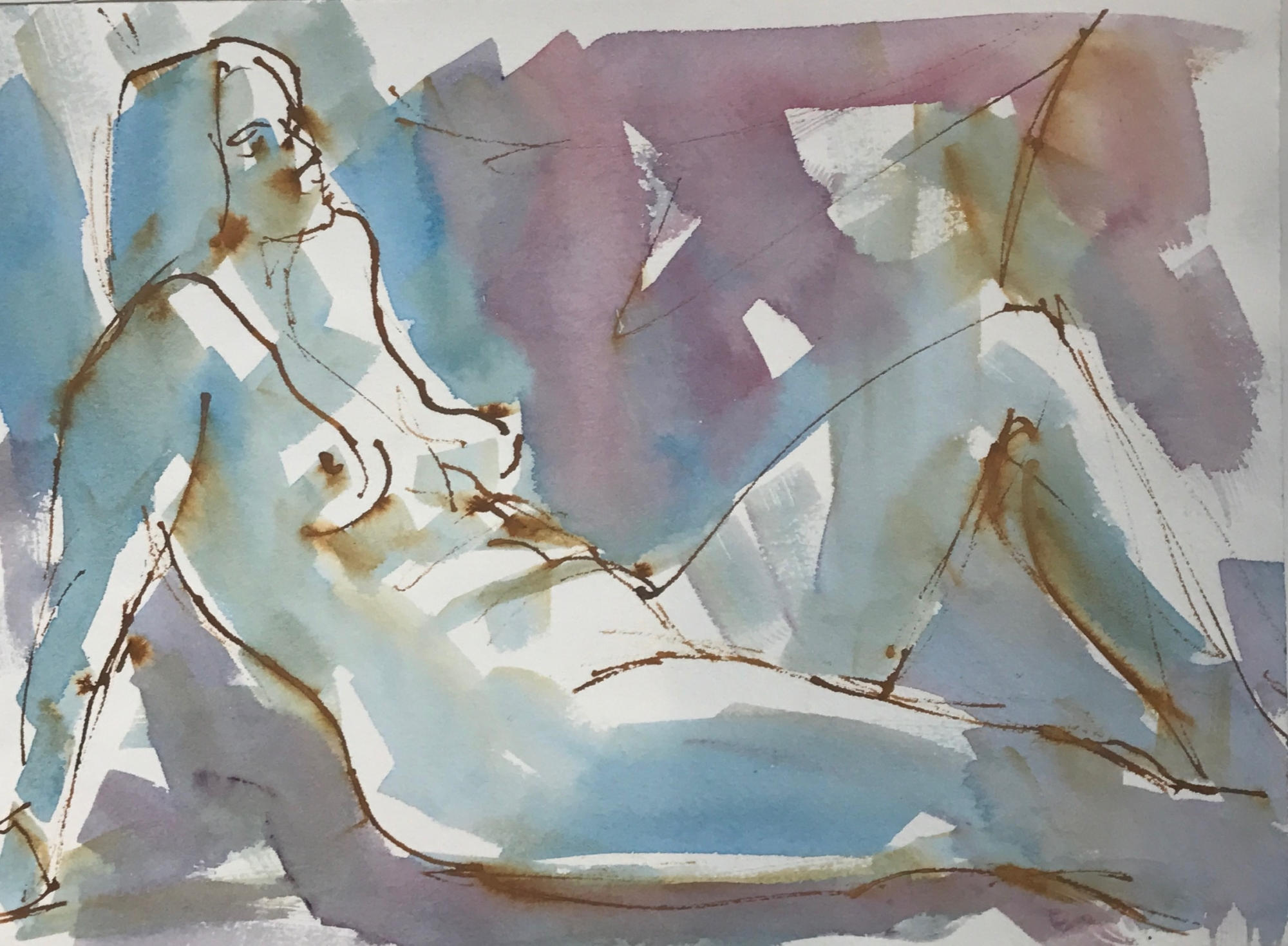 Nude Semi Reclining  by Mel Delija