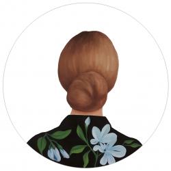 Marina  Nazarova - Lady in Blouse with Blue Flowers