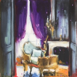 Hanna Ruminski - Interior with Purple Curtains