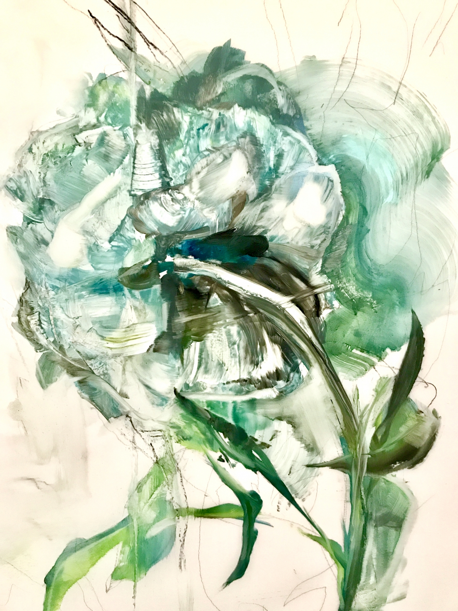Teal Peony 2018- 1 by Madeleine Lamont