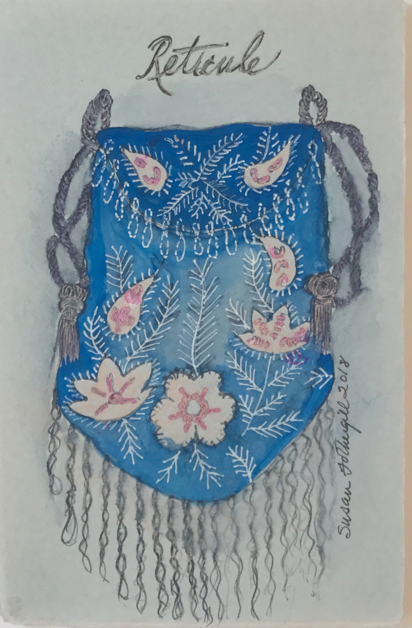 Reticule with Flowers and Tassel by Susan Fothergill