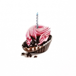 Erin Rothstein - Tasting Room: Pink Cupcake with Candle