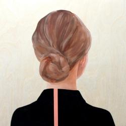 Marina  Nazarova - Girl in Black Shirt with Pink Stripe
