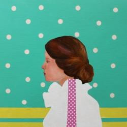 Marina  Nazarova - Girl in White Blouse with Pink Stripe
