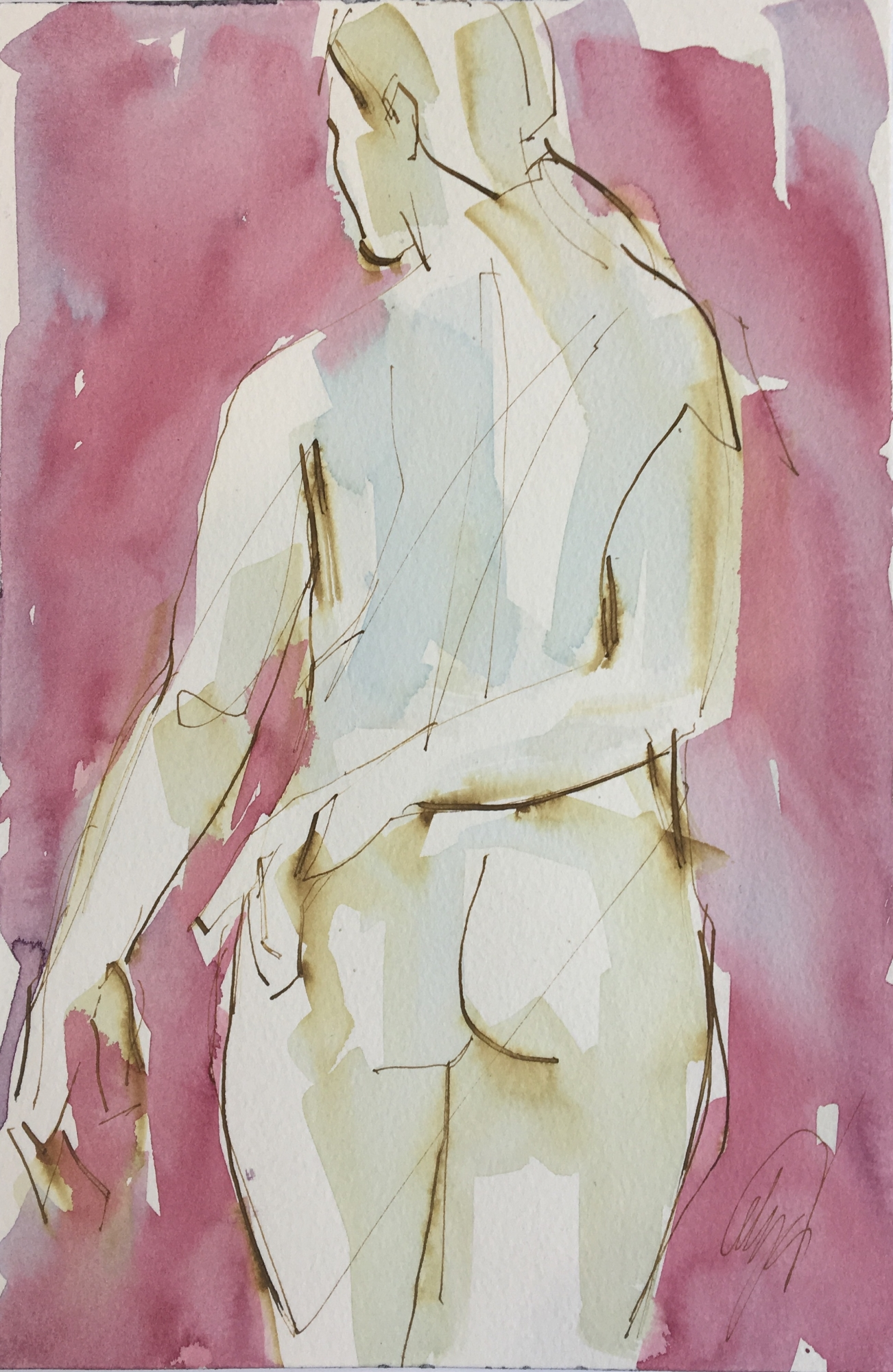 Nude Left Hand on Back  by Mel Delija