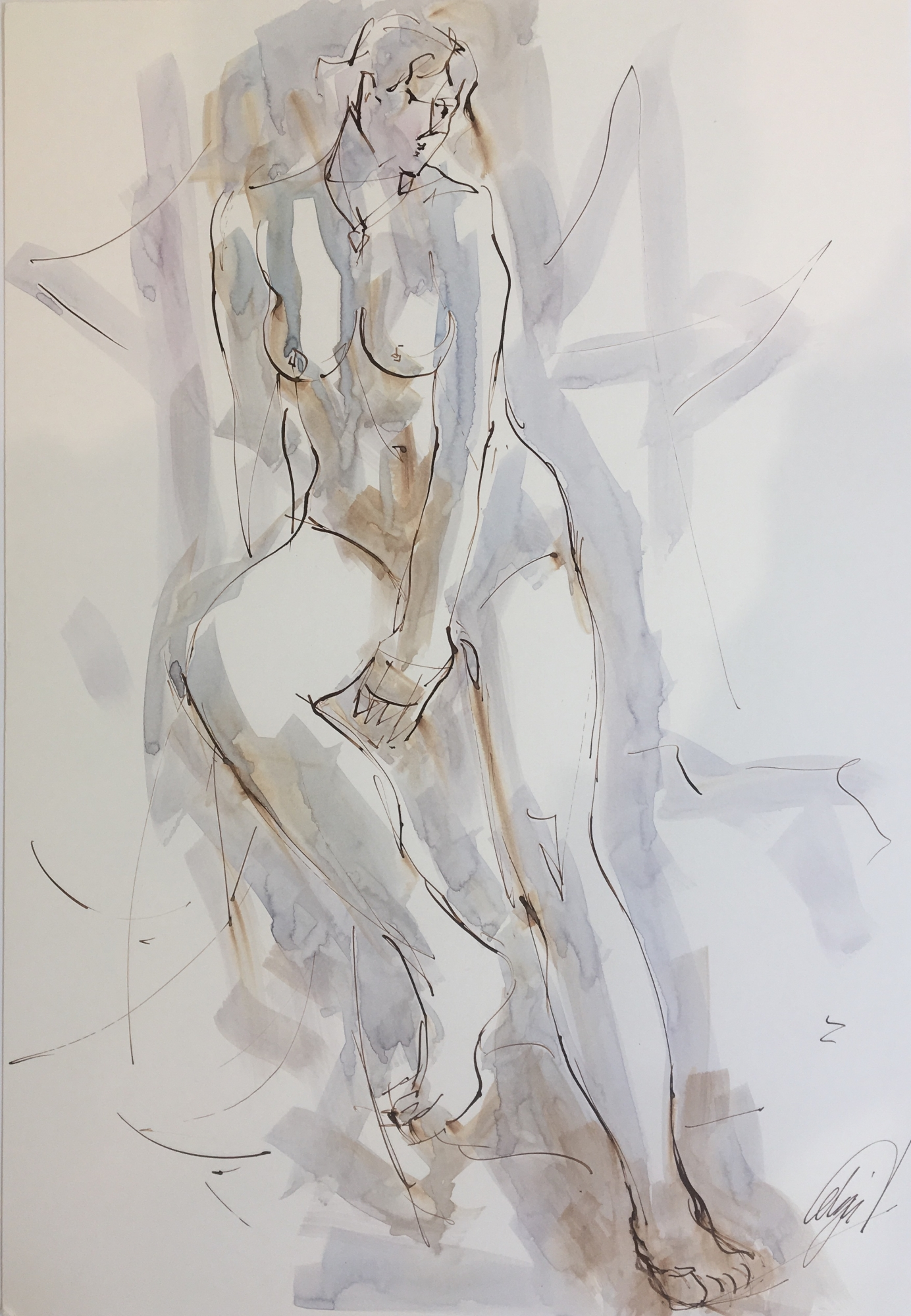 Seated Nude V by Mel Delija