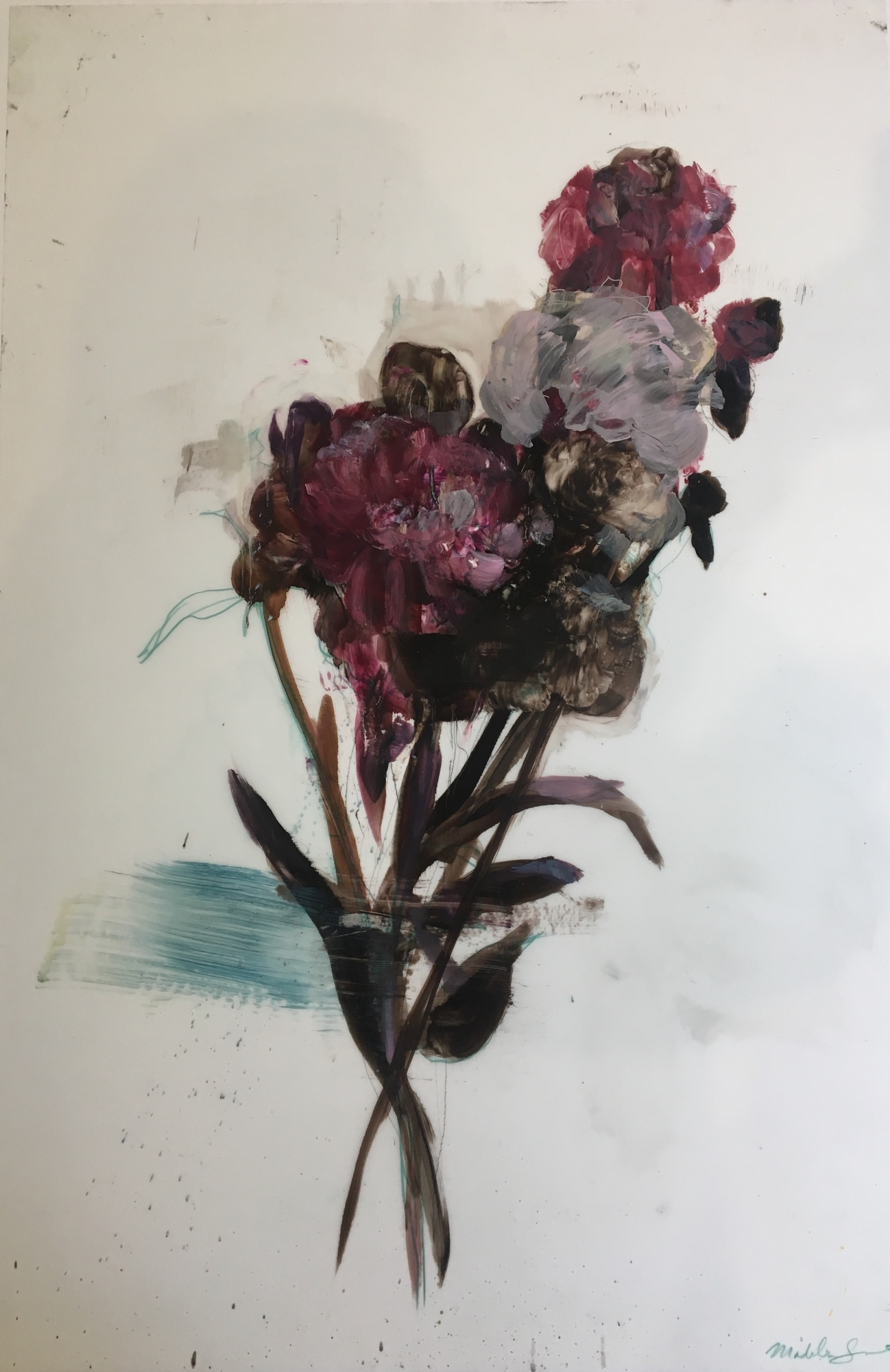 Purple peonies by Madeleine Lamont