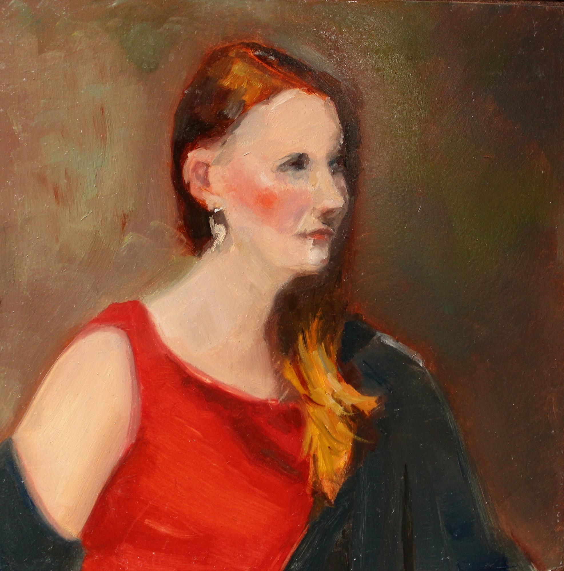Red Dress, Green Shawl  by Win  Kuplowsky