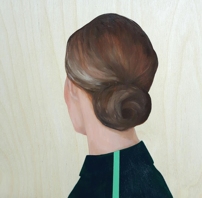 Lady in Black Shirt with Green Stripe  by Marina  Nazarova