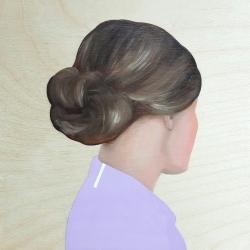 Marina  Nazarova - Lady in Lavender Shirt with White Stripe