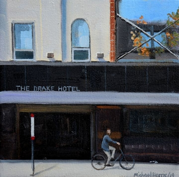 Riding on the sidewalk, Queen Street West  by Michael Harris