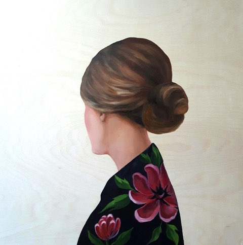 Lady in Black Blouse with Flowers  by Marina  Nazarova