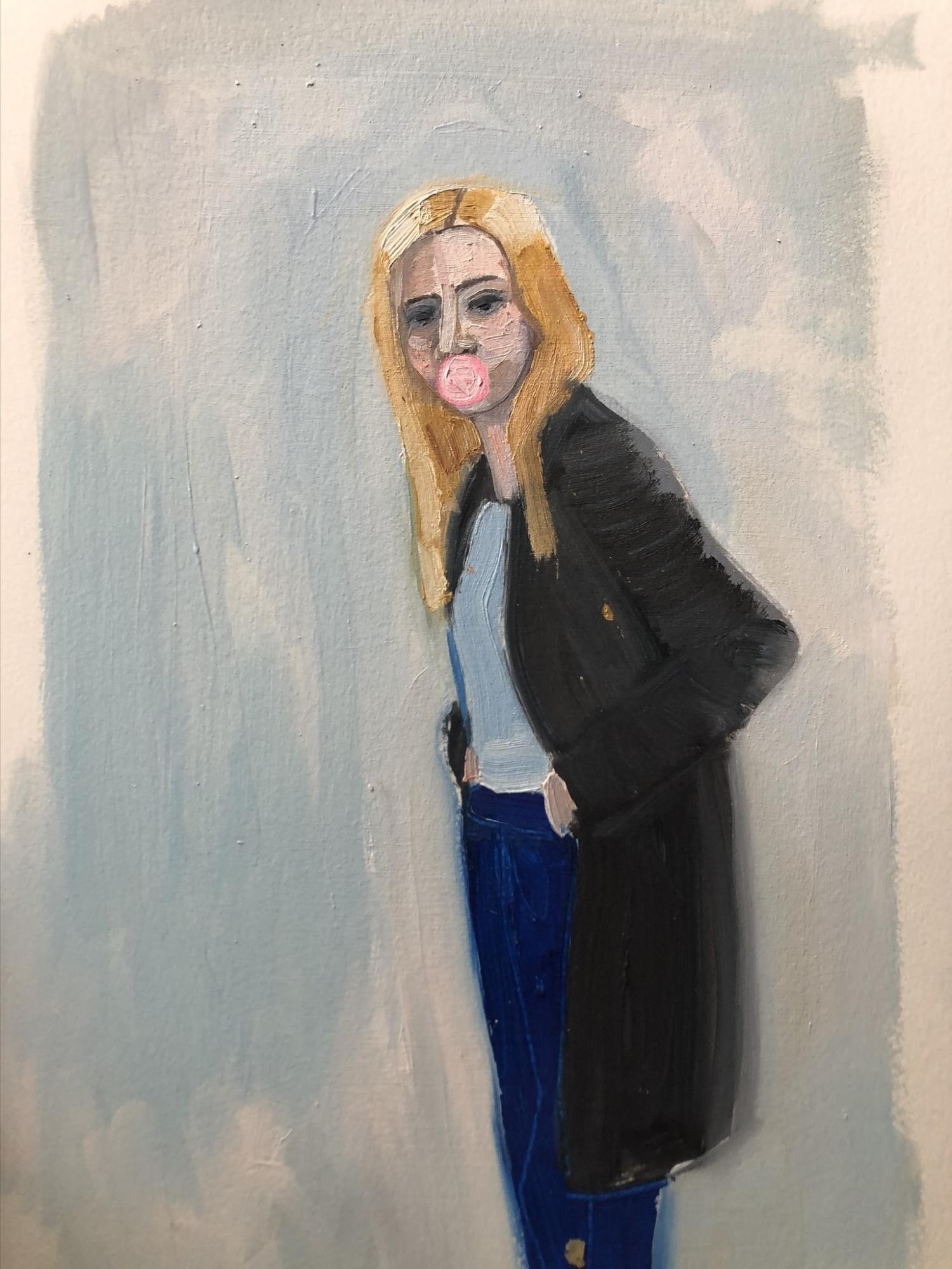 Blue Cardigan  by Frances  Hahn