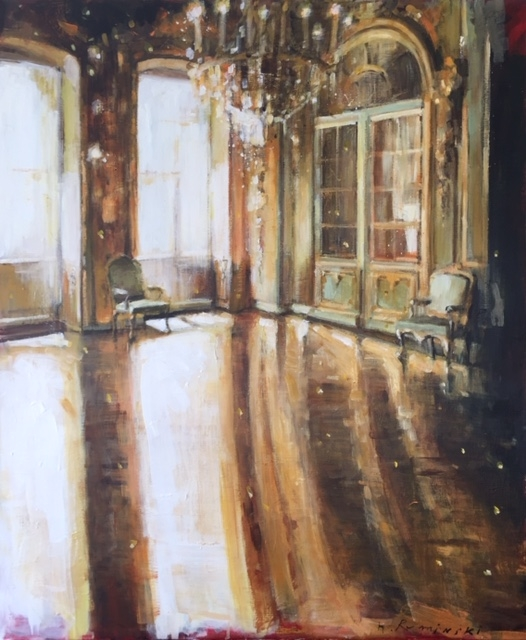 Chateau Interior in Gold  by Hanna Ruminski