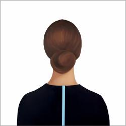 Marina  Nazarova - Lady in Dark Blue Blouse with Stripe