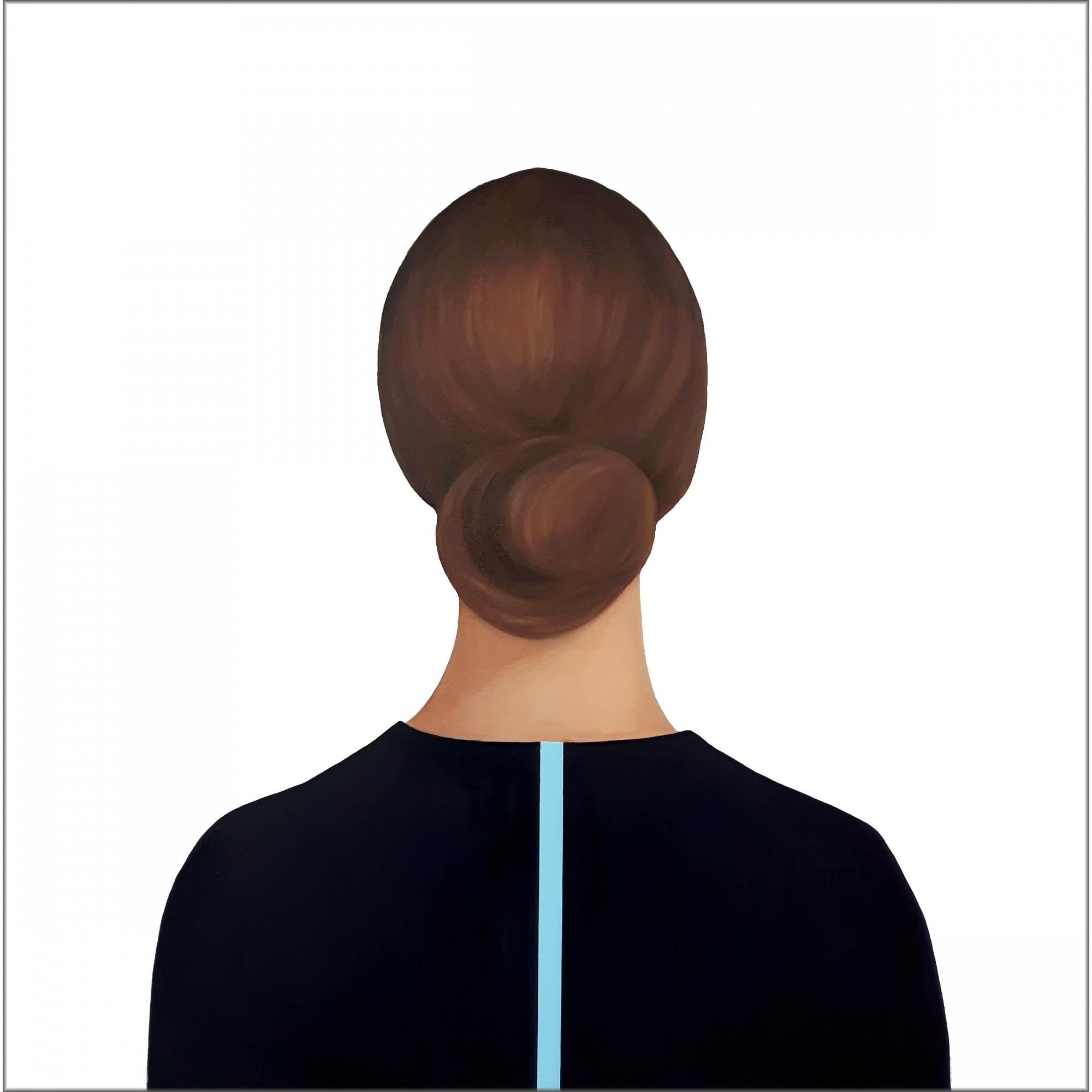 Lady in Dark Blue Blouse with Stripe  by Marina  Nazarova