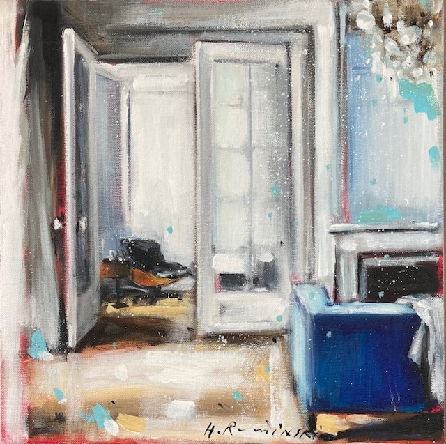 Interior in White With Blue Sofa by Hanna Ruminski