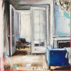 Hanna Ruminski - Interior in White With Blue Sofa