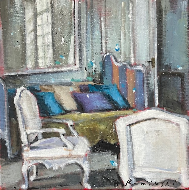Parisian Apartment with White Armchairs by Hanna Ruminski