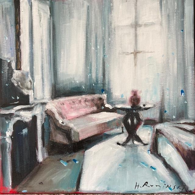 Interior with Tufted Sofa by Hanna Ruminski