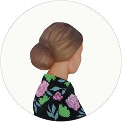 Marina  Nazarova - Lady in Dark Green With Flowers
