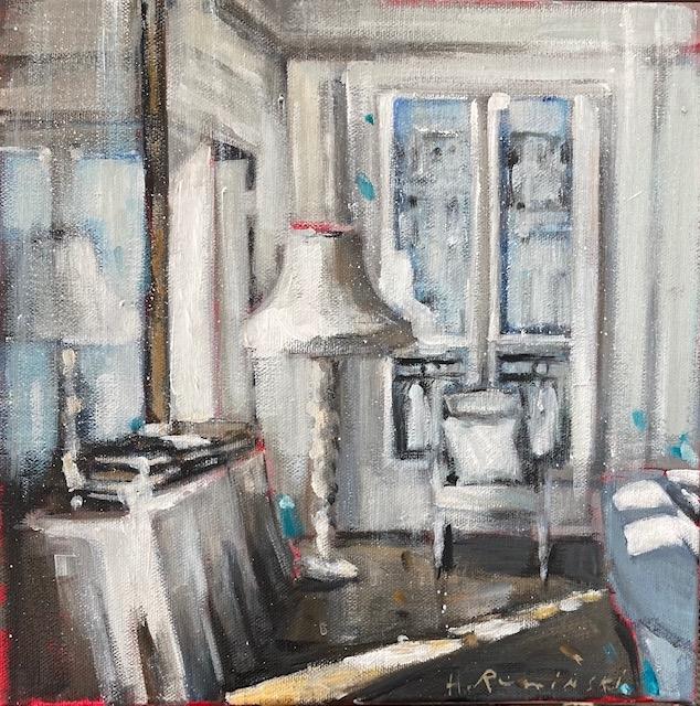 Parisian Apartment in White With Floor Lamp by Hanna Ruminski