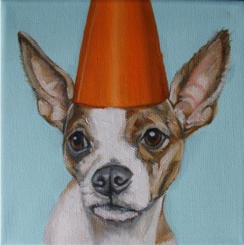 Chihuahua in Orange Hat by Jennifer Wigmore