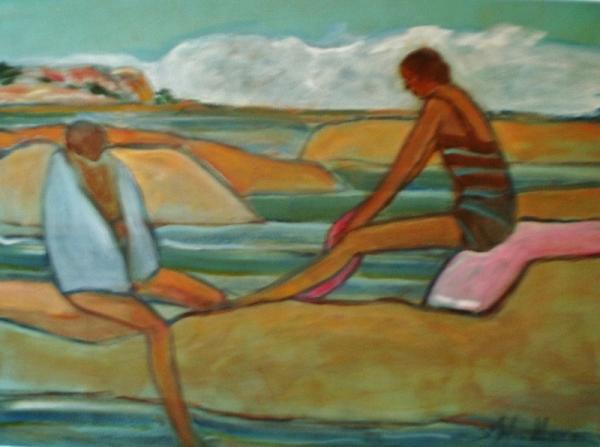 Two Bathers-The Open - Georgian Bay by Susan McLean Woodburn